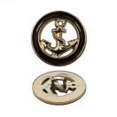 Пуговица металлизированная,, 28L, цвет золото+черный