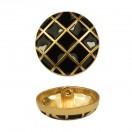 Пуговица металлическая, 40L, цвет  матовое золото+черный