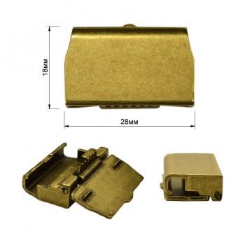 Зажим-крепление для пряжки 2.5см (18х28мм), металл., цвет черненое золото