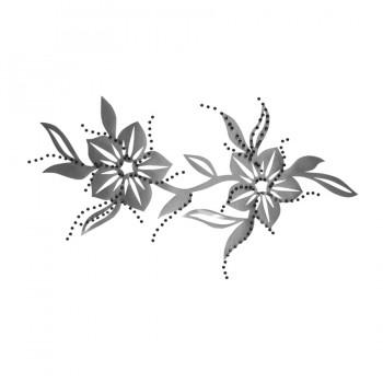 Аппликация клеевая  цветок  стразы+текстиль, цвет серый