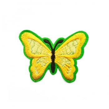 Аппликация клеевая, вышивка текстильная,  Бабочка маленькая , цвет желтый