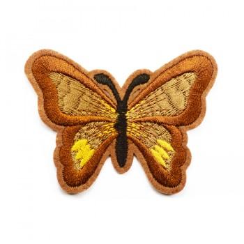 Аппликация клеевая, вышивка текстильная,  Бабочка большая , цвет коричневый