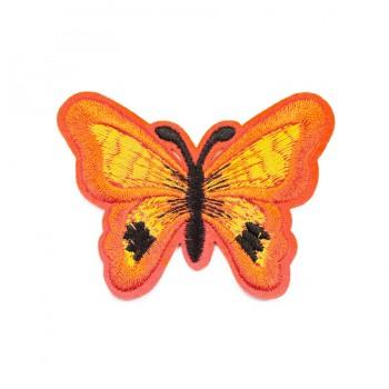 Аппликация клеевая, вышивка текстильная,   Бабочка большая , цвет оранжевый