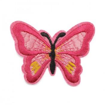 Аппликация клеевая, вышивка текстильная,  Бабочка большая , цвет розовый