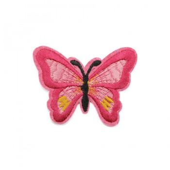 Аппликация клеевая, вышивка текстильная,  Бабочка маленькая , цвет розовый