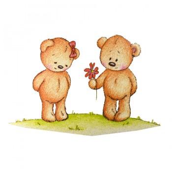 Аппликация клеевая, принт,  Два  медведя , цвет разноцветный