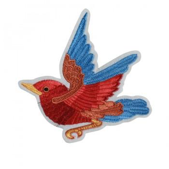 Аппликация клеевая, вышивка текстильная,  Птичка смотрит влево , цвет разноцветный