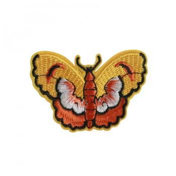 Аппликация клеевая, вышивка текстильная,   Бабочка , цвет желтый