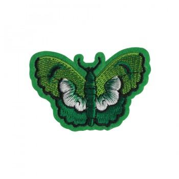 Аппликация клеевая, вышивка текстильная,   Бабочка , цвет зеленый