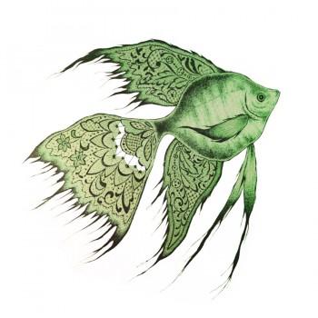 Аппликация клеевая, принт,  Рыба , цвет зеленый