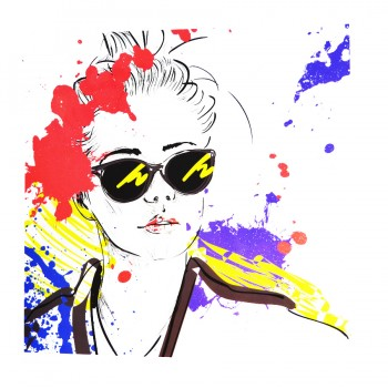 Аппликация клеевая, принт,  Девушка в очках , цвет разноцветный