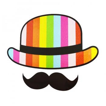 Аппликация клеевая, принт,  Шляпа и усы , цвет разноцветный