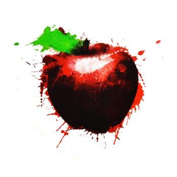 Аппликация клеевая, принт,  Яблоко , цвет красный+зеленый