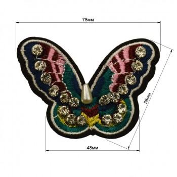 Аппликация клеевая со стразами, вышивка текстильная,   Бабочка , цвет разноцветный