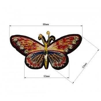 Аппликация пришивная со стразами, вышивка текстильная,   Бабочка , цвет разноцветный