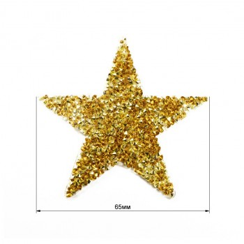 Аппликация клеевая из страз,  Звезда , цвет золото