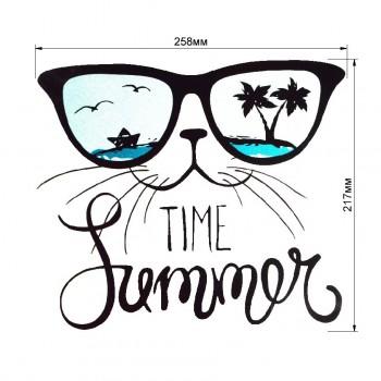 Аппликация клеевая, принт,  Кот в очках , цвет черный+голубой