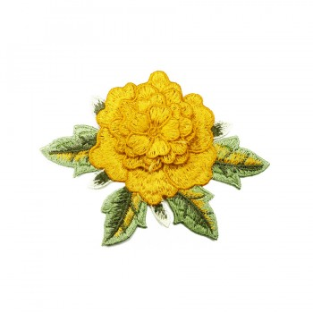 Аппликация пришивная, текстиль,  Роза , цвет желтый