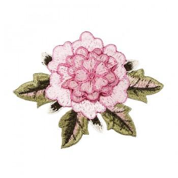 Аппликация пришивная, текстиль,  Роза , цвет розовый