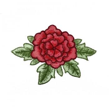 Аппликация пришивная, текстиль,  Роза , цвет красный