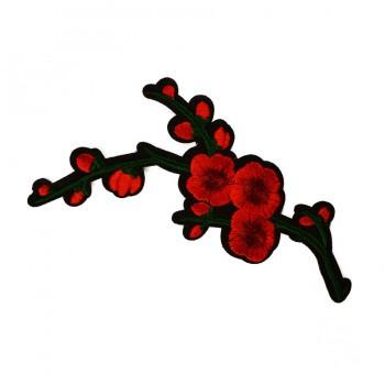 Аппликация клеевая, вышивка текстильная,  Сакура , цвет красный+зеленый+черный