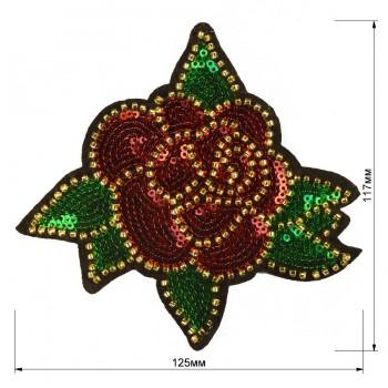 Аппликация пришивная c пайетками и бисером, текстиль,  Роза , цвет красный