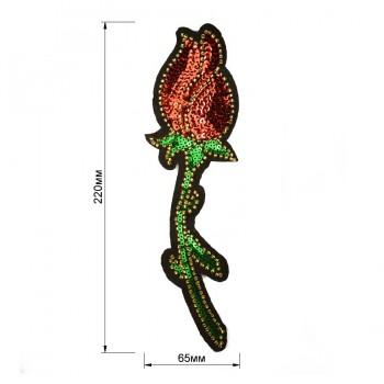 Аппликация пришивная c пайетками и бисером,  Роза , цвет разноцветный