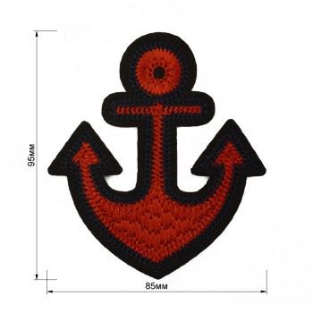 Аппликация клеевая, вышивка текстильная,  Якорь , цвет черный+т.синий+красный