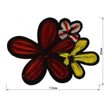 Аппликация клеевая с пайетками, вышивка текстильная,  Три цветка , цвет разноцветный