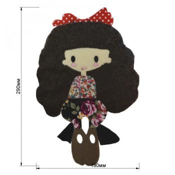 Аппликация клеевая, бархат+нитки+текстиль,  Девочка , цвет коричневый+разноцветный