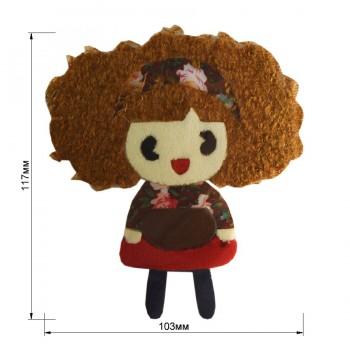 Аппликация клеевая, бархат+нитки+текстиль,  Девочка маленькая , цвет разноцветный