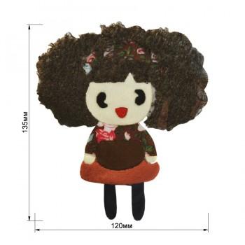 Аппликация клеевая, бархат+нитки+текстиль,  Девочка с каштановыми волосами , цвет коричневый+разноцветный