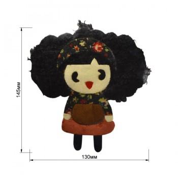 Аппликация клеевая, бархат+нитки+текстиль,  Девочка с черными волосами , цвет черный+разноцветный