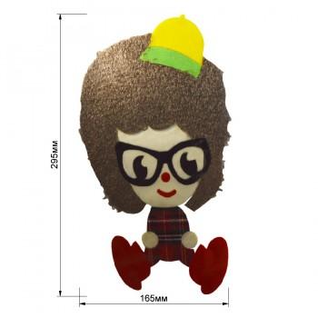 Аппликация клеевая, бархат+нитки+текстиль,  Девочка в очках , цвет разноцветный