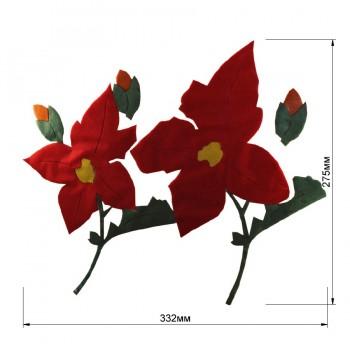 Аппликация клеевая, бархат,  Цветы , цвет красный+зеленвый