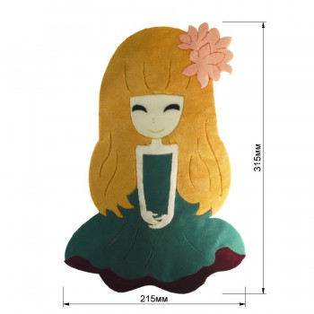 Аппликация клеевая, бархат+нитки+текстиль,  Девочка , цвет разноцветный