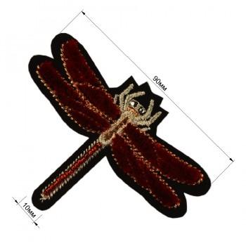 Аппликация клеевая, бархат+текстиль+бисер,  Cтрекоза , цвет черный+красный