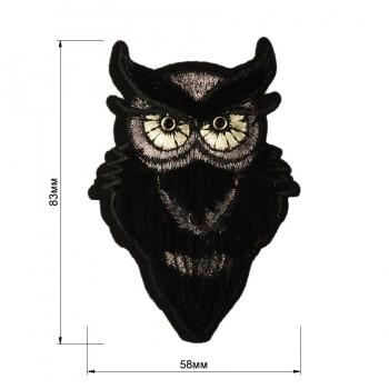 Аппликация клеевая, бархат+текстиль,  Cова , цвет черный