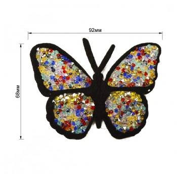 Аппликация клеевая из страз и бисера, текстиль,  Бабочка , цвет разноцветный