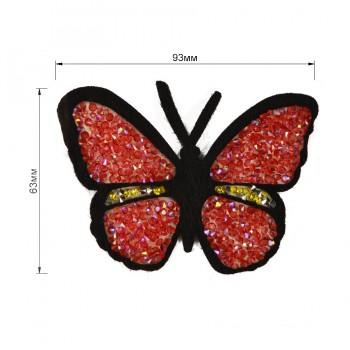 Аппликация клеевая из страз,  Бабочка , цвет красный+черный