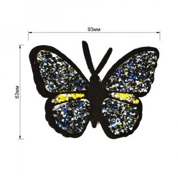 Аппликация клеевая из страз,  Бабочка , цвет синий+черный
