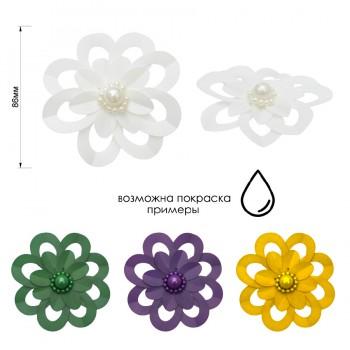 Аппликация пришивная c пайетками и бисером,  Цветок , цвет белый