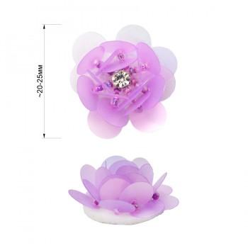 Аппликация пришивная c пайетками,  Цветок , цвет фиолетовый
