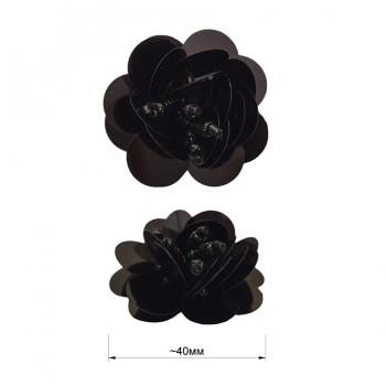 Аппликация пришивная c пайетками,  Цветок , цвет черный
