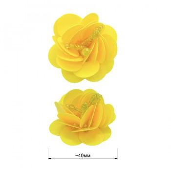 Аппликация пришивная c пайетками,  Цветок , цвет желтый