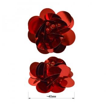 Аппликация пришивная c пайетками,  Цветок , цвет красный