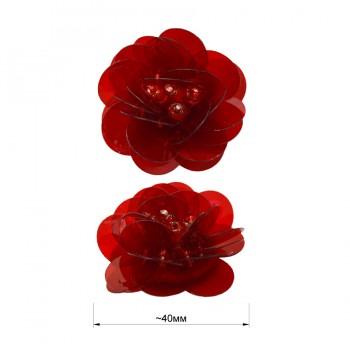 Аппликация пришивная c пайетками,  Цветок , цвет красный прозрачный