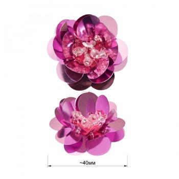 Аппликация пришивная c пайетками,  Цветок , цвет розовый