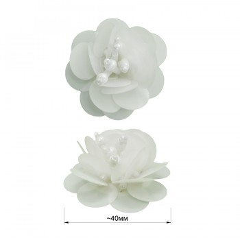 Аппликация пришивная c пайетками,  Цветок , цвет белый
