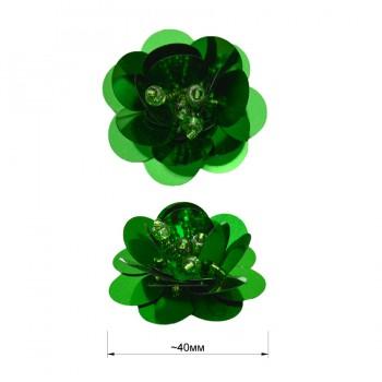 Аппликация пришивная c пайетками,  Цветок , цвет зеленый